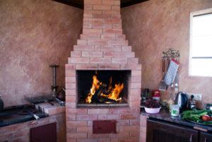 fireplace made of brick